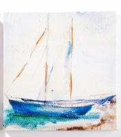 "12"" Square Double Mast Sailboat Canvas Wall Art"