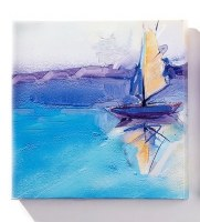 """8"""" Square Blue and Yellow Sailboat Canvas Wall Art"""