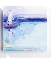 "8"" Square White Sailboat Canvas Wall Art"
