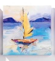 "8"" Square Yellow Sailboat Sunset Canvas Wall Art"