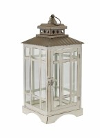 "14"" Antique White Metal and Glass Candle Lantern"