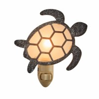 "5"" Silver and Black Metal and Glass Turtle Night Light"