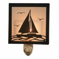 "5"" Black Metal and Glass Sailboat on Water Night Light"