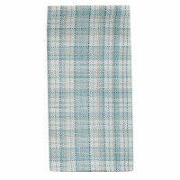 """18"""" Square White and Turquoise Plaid Relaxed Retreat Cloth Napkin"""