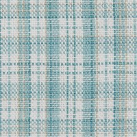 """13"""" x 54"""" White and Turquoise Plaid Relaxed Retreat Table Runner"""