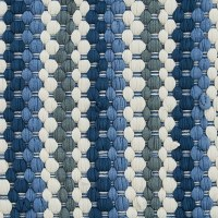 """13"""" x 36"""" Blue and White Striped Chindi Table Runner"""