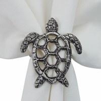 Silver Sea Turtle Openwork Napkin Ring
