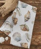 """18"""" x 26"""" White Seashells Kitchen Towel"""