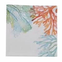 "20"" Square Blue, Green and Orange Coral Reef Cloth Napkin"