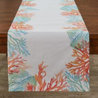 """15"""" x 72"""" Blue, Green and Orange Coral Reef Table Runner"""