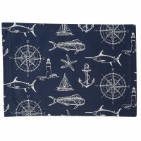 "13"" x 19"" Navy and White Captain's Quarters Placemat"