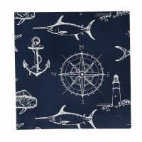 "20"" Square Navy and White Captain's Quarters Cloth Napkin"