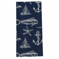 """18"""" x 26"""" Navy and White Captain's Quarters Kitchen Towel"""