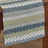 """13"""" x 54"""" Blue, Green and Gray Dew Drop Chindi Table Runner"""