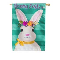 """28"""" x 44"""" White Bunny With Floral Crown Happy Easter Burlap Garden Flag"""