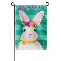 """13"""" x 18"""" Mini Bunny With Floral Crown Happy Easter Burlap Garden Flag"""