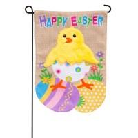 "13"" x 18"" Mini Happy Easter Hatching Chick Burlap Garden Flag"