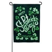 """13"""" x 18"""" Mini Happy St. Patrick's Day Shamrocks Garden Flag"""