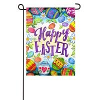 """13"""" x 18"""" Mini Happy Easter Multicolor Eggs Suede Garden Flag"""