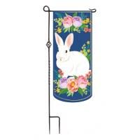 """13"""" x 28"""" Mini Extra Long White Bunny Navy Floral Garden Flag"""