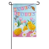 "13"" x 18"" Mini Happy Easter Chicks Hatching Garden Flag"