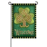 """13"""" x 18"""" Mini Celtic Knot Shamrock Welcome Garden Flag"""