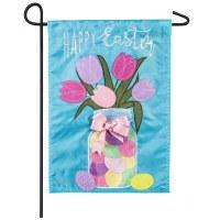 """13"""" x 18"""" Mini Easter Jar of Tulips Garden Flag"""