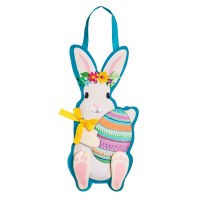 """23"""" White Bunny With Flower Crown Holding an Egg Door Hanger"""