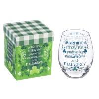 17 oz Celtic Shenanigans Stemless Wine Glass in Box