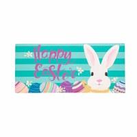 """10"""" x 22"""" Happy Easter Bunny on Turquoise Sassafras Doormat"""