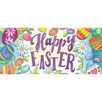 """10"""" x 22"""" Happy Easter Eggs Sassafras Doormat"""