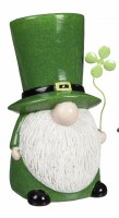 "10"" Green Ceramic St. Patrick's Day Gnome With Clover"