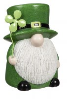 "7"" Green Ceramic St. Patrick's Day Gnome With Clover"