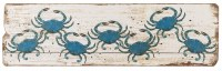 "14"" x 48"" Seven Blue Crabs on Weathered White Plank Wall Plaque"