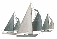 """25"""" x 38"""" Antique White and Blue Sailboat Trio Metal Wall Plaque"""