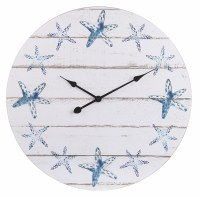 """24"""" Round Antique White Wood Plank and Blue Starfish Wall Clock"""