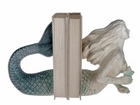 """8"""" Antique White Blue Ombre Mermaid Bookends"""