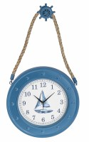 "16"" Round Blue Porthole Wall Clock With Ship Wheel Hanger"