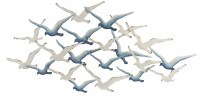 """54"""" Antique White Blue Ombre Layered Seagulls Metal Wall Plaque"""