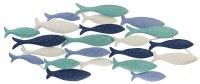 """43"""" White, Blue, and Green Layered Embossed Fish Metal Wall Plaque"""