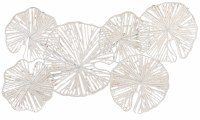 "35"" White Paper and Metal Layered Lilypads Wall Art"