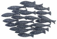 """34"""" Navy and White School of Fish Metal Wall Plaque"""