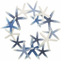 """28"""" Round Antique White and Blue Starfish Wreath Wall Plaque"""