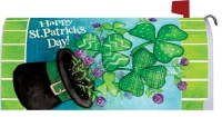 "7"" x 17"" Happy St. Patrick's Day Top Hat and Shamrocks Mailbox Cover"