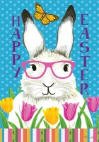 "12"" x 18"" Mini Bunny in Glasses Happy Easter Flag"