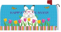 """7"""" x 17"""" Bunny in Glasses Happy Easter Mailbox Cover"""