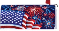 "7"" x 17"" Fireworks and American Flag Mailbox Cover"