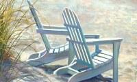 """18"""" x 30 Two White Beach Adirondack Chairs Doormat"""