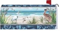 "7"" x 17"" Dark Blue Beach Shorebirds Mailbox Cover"