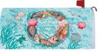 "7"" x 17"" Aqua Life at Ease Shell Wreath Mailbox Cover"